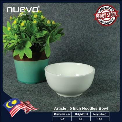 5 Inch White Ceramic Noodles Bowl 白陶瓷面碗 Mangkuk Mee Seramik Putih