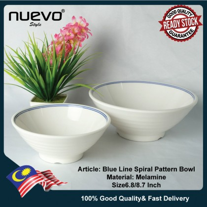 6.8 Inch Blue Line Melamine Spiral Pattern Bowl 蓝线密胺螺旋图案碗 Mangkuk Corak Spiral Melamine Garis Biru